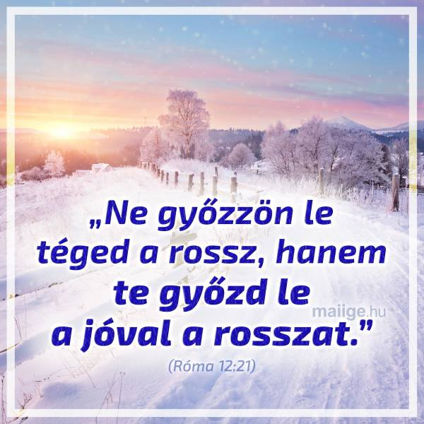 """""""Ne győzzön le téged a rossz, hanem te győzd le a jóval a rosszat."""" (Róma 12:21)"""