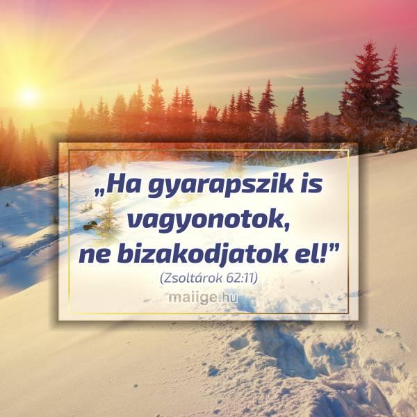 """""""Ha gyarapszik is vagyonotok, ne bizakodjatok el!"""" (Zsoltárok 62:11)"""