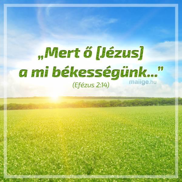 """""""Mert ő [Jézus] a mi békességünk..."""" (Efézus 2:14)"""