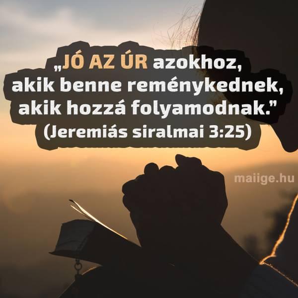"""""""Jó az ÚR azokhoz, akik benne reménykednek, akik hozzá folyamodnak."""" (Jeremiás siralmai 3:25)"""