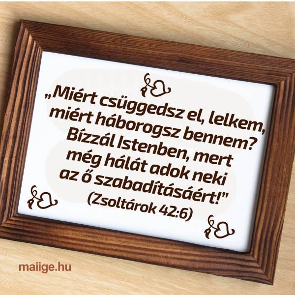 """""""Miért csüggedsz el, lelkem, miért háborogsz bennem? Bízzál Istenben, mert még hálát adok neki az ő szabadításáért!"""" (Zsoltárok 42:6)"""