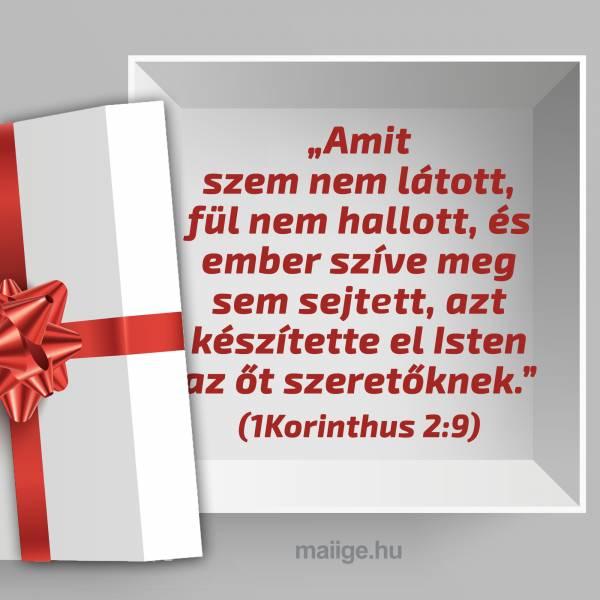 """""""Amit szem nem látott, fül nem hallott, és ember szíve meg sem sejtett, azt készítette el Isten az őt szeretőknek."""" (1Korinthus 2:9)"""