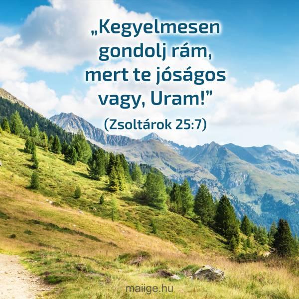 """""""Kegyelmesen gondolj rám, mert te jóságos vagy, Uram!""""(Zsoltárok 25:7)"""