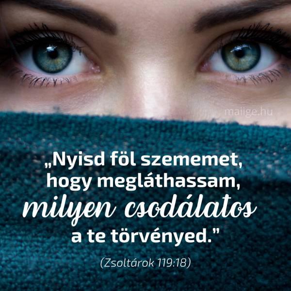 """""""Nyisd föl szememet, hogy megláthassam, milyen csodálatos a te törvényed."""" (Zsoltárok 119:18)"""
