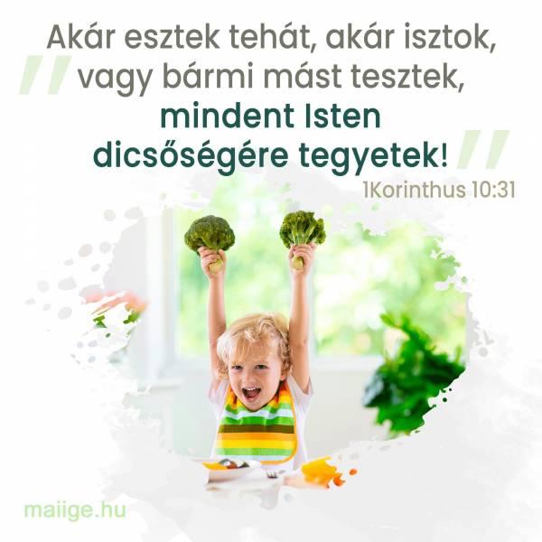 """""""Akár esztek tehát, akár isztok, vagy bármi mást tesztek, mindent Isten dicsőségére tegyetek!"""" (1Korinthus 10:31)"""