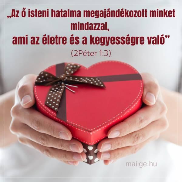 """""""Az ő isteni hatalma megajándékozott minket mindazzal, ami az életre és a kegyességre való"""" (2Péter 1:3)"""